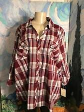 879e7f767db8f Sonoma Plus 3x Burgundy Plaid Snap Down Collar Pockets 3 4 Sleeve Tunic  Shirt