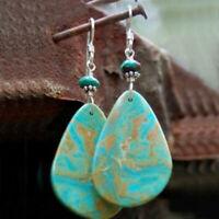 Boho Women Silver Plated Ear Stud Hook Water Drop Turquoise Dangle Earrings