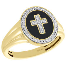 10K Yellow Gold Round Diamond Cross Crucifix Statement Pinky Ring Band 1/6 CT