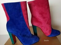 NEW Christian Louboutin Botty Double Colorblock Suede Red Sol Heel Ankle Boot 39