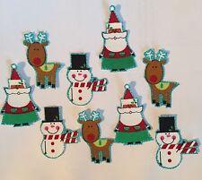 Christmas Miniatures - Santa, Reindeer - Iron On Fabric Appliques - Holiday
