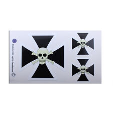 3X Iron Cross Scull Black White Laminated Decals Stickers for bike hod rod vw
