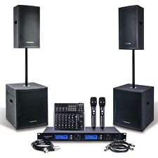 """Sound Town Pro Powered Pa Set: 12"""" Speaker 15"""" Subwoofer Microphone Mixer Cable"""