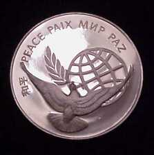 """RARE 1972 """"UNITED NATIONS~PEACE MEDAL"""" .925 STERLING SILVER PROOF-IN BOX w/STAND"""