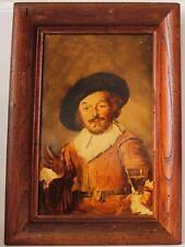 Antique Porcelain Plaque Oil Painting Merry Drinker after Frans Hals c.1900