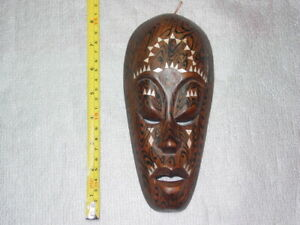 wooden wall mask with mother-of-pearl inlay Lombok hanging decor