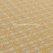 Yellow Medallion Inspired Geometric Pattern Chenille Upholstery Woven New Fabric