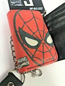 Mens Boys OfficialMarvel Comics Spider Man Detachable Chain & Button Red Wallet