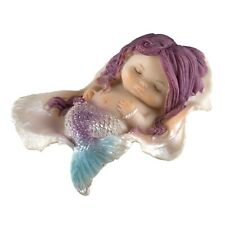 """Little Baby Mermaid Sleeping In A Clam Shell Figurine 2.75"""" Long Resin New!"""