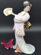Tokutaro Tamai Geisha Girl Porcelain Figure Maiden of the Fluttering Fan Statue