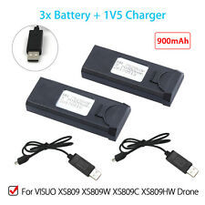 2x Duable 900mAh Rechargeable Battery +Charger Cable For VISUO XS809C Quadcopter