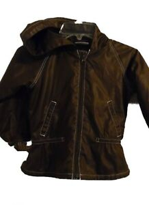 Hanna Andersson Girl's Poly Brown Windbreaker Hooded Jacket Size 90 / 3T EUC