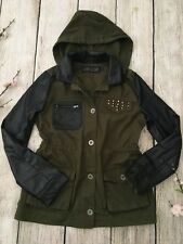 LOVE CULTURE One of a Kind Olive Green Pleather Leather Studded Jacket Top Sm
