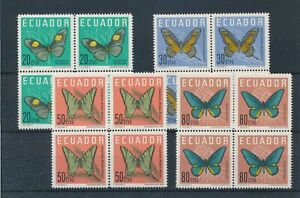 [31154] Ecuador 1961 Butterflies Good set blocks of 4 VF MNH stamps