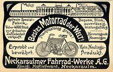 Bestes Motorrad der Welt Neckarsulmer Fahrrad- Werke Aelteste Fabrik Annonce1904