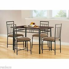 5 Piece Dining Set Wood Metal 4 Chairs U0026 Table Kitchen Breakfast Furniture  NEW