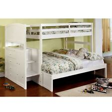 Appenzell White Twin over Full Loft Bunk Bed w/ Built-in Drawers & Front Steps