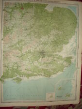 """1920 LARGE MAP ~ ENGLAND & WALES ~ SOUTH EAST 23"""" x 18"""""""
