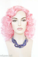 Pink Fun Color Long Curly Fun Color Costume Wigs