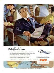 1951 TWA PRINT AD Dad's Favorite Chair Stewardess