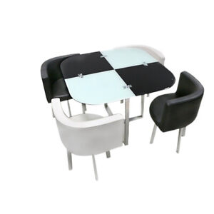 Square Glass Dining Table/Cafe Table with 4 Chairs Set Home Kitchen Living Room