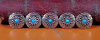 10X 30MM Western concho silver turquoise flower leather wallet saddle screw back