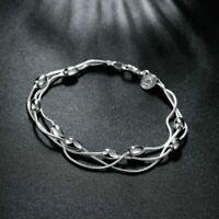 925 Silber Armband Armkette Silberarmband Kugel Oval Charms Damen Geschenk Neu