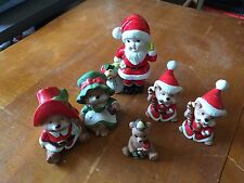 Lot Of 6 Vintage Homco Christmas Porcelain Figurines Guc