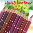 Hot Sale 12 PCS Professional Lipliner Waterproof Lip Liner Pencil 15CM 12 Colors