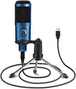USB Condenser Microphone, EIVOTOR 192KHZ/24BIT Plug&Play Computer Microphone