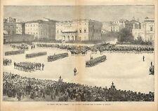Stampa antica ROMA rione Macao Castro Pretorio militari 1887 Old antique print