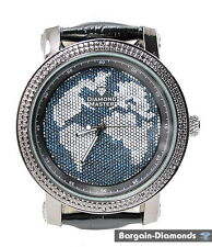 Diamond mens big black world map watch blue oceans bling ice out leather maxx