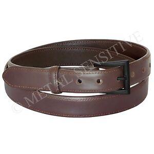 Metal Free Belt 30mm Brown Italian Leather Non-metallic Buckle Airport Friendly