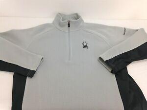 Spyder Guggenheim 1/2 Zip Mens L Gray Jacket With Black Trim Mid Weight Knit
