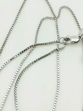 """14k Solid White Gold Box Link Necklace Pendant Chain 24"""" .8mm"""