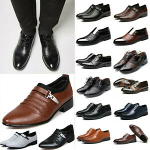 Men Formal Dress Leather Oxfords Shoes Pointy Office Wedding Work Business Shoes
