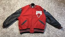 Mens Vintage DeLong Chicago Bulls Wool Varsity Jacket Black Red Size 48 XL NBA