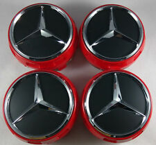 4pcs 75MM MERCEDES BENZ HUB AMG WHEEL CENTRE CAPS RED/BLACK A B C E S ML CLASS
