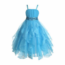 Wedding Stunning Organza Spaghetti-Straps Pleated Ruffled Flower Girl Dress #009