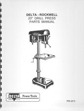 "Delta Rockwell - 20"" Drill Press Parts Manual Instructions"
