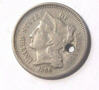 1866 Three Cents Nickel 1866 Three 3 Cents 3C Civil War Coin Private Owner