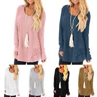 Women Lace Long Sleeve V-Neck Jumper Sweaters Loose Plain Pullover Knitwear Tops