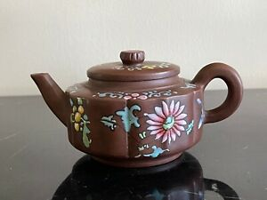YiXing Clay Painted Floral Teapot Signed
