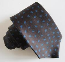 Bulgari Tie 7385736 100% Silk Charcoal Tie w Blue Print NWT Signed by Artist Box