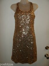 INC XS Dress Allover Sequin Racerback Gold Shiny Cocktail Fall Holiday Party EUC
