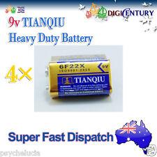 4 x Genuine TIANQIU 6F22X 9v Heavy Duty Battery Brand New 9Volts