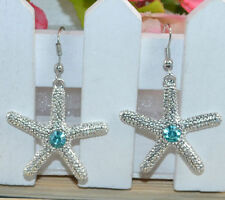 Cute New Tibetan / Thai Silver Blue Topaz Crystal Starfish Dangle Drop Earrings