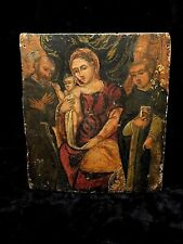 Catholic Antique Italian Holy Icon Madonna enthroned with St. Francis & Dominic