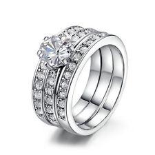 Women Eternity Flower Stainless Steel Ring Set Silver Plated Wedding Zircon