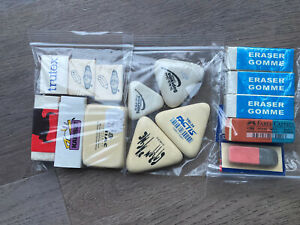 E19 Vintage 90s Erasers Rubbers-Job Lot Of Lovely Usable Erasers-Factis Triangle